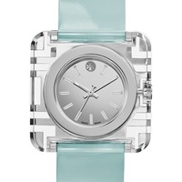 Women's Tory Burch 'Izzie' Square Leather Strap Watch, 36mm - Light Blue/ Silver