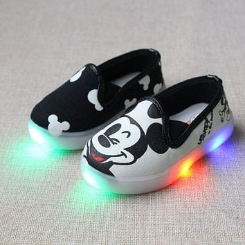 LED Light Canvas Shoes Printing Kids