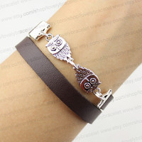 The owl charm bracelet, brown leather bracelet, personalized gift friendship