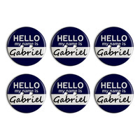 Gabriel Hello My Name Is Plastic Resin Button Set of 6