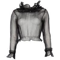 1960's Black Sheer Top with Statement Ruffle Collar
