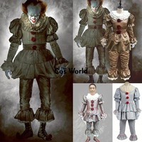 Stephen King's It Pennywise Clown Joker Evil Horror Terror Halloween Coat Outwear Pants Suits Outfit