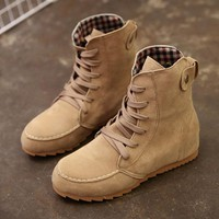 boots women shoes Flat Ankle Snow cool Motorcycle Boots Female Suede Leather Lace-Up Boot good quality botas mujer