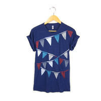 Triangle Bunting Banner Hand STENCILED Crew Neck Rolled Cuffs Tee in Heather Navy Red White and Blue - Women's S M L XL 2XL 3XL