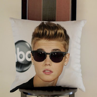 Justin Bieber wearing glasses Pillow, Pillow Case, Pillow Cover, 16 x 16 Inch One Side, 16 x 16 Inch Two Side, 18 x 18 Inch One Side, 18 x 18 Inch Two Side, 20 x 20 Inch One Side, 20 x 20 Inch Two Side