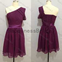 Purple prom dress,one-shoulder bridesmaid dress,fashion bridesmaid dress,short prom dress,simple dress,fashion dress,dress 2014,hot sales