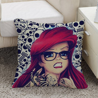 Sara Fabel Style Disney Punk Rock Ariel Mermaid Tattoo tribal Square Pillow Case Custom Zippered Pillow Case one side and two side