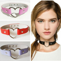 1 PCS Women Lady Favorite Punk Goth Harajuku Grunge Leather Rivet Heart Funky Torques Collar Gothic Choker Necklace Fine Jewelry