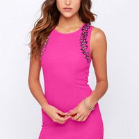 Ignite the Night Fuchsia Beaded Dress