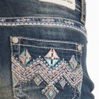 Grace in LA Jeans Bootcut with Colored Chevron Pockets JB8797