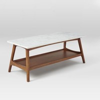 Reeve Mid-Century Coffee Table Rectangle , Marble/Pecan