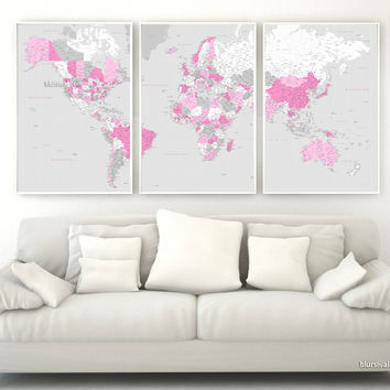 """Highly detailed printable word map in pink and gray, set of 3 panels map in 24x36"""" each panel, no quote"""