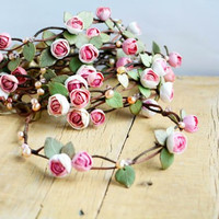 Bridesmaid flower crown, Wedding floral crown, Roses head wreath, Roses flower halo, Wedding pink halo, floral hair wreath, Flower crown set