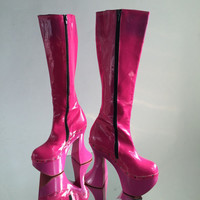 Reserved for ENCA // 90's Barbie Patent  Platform Boots with Funky Sculptural Heel // 7.5