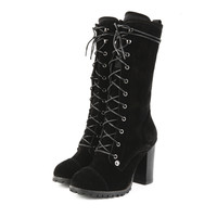 Long Lace Up Boots with Heel