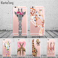 Cute Animals Three Flower Giraffe Case Cover For iphone 6 6S 7 7Plus Transparent with design Soft Silicone Fundas Coque
