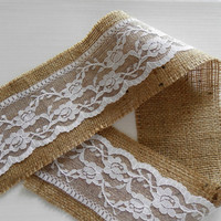 """Burlap ribbon  4""""(10cm) by 3 - 6 - 9 yards (2,75m - 5,50m - 8,25m) with lace - rustic wedding or home decor"""