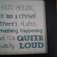 Our house... song lyrics completed framed cross stitch