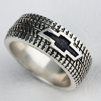 Car Tire Ring Wedding Band Ring Personalized Sterling Silver