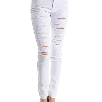High Rise Destroyed Skinny Fit Jeans