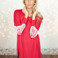 Mommy Lace Patch Holiday Dress Red