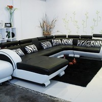 Unique Modern White Black Leather Sectional - Opulentitems.com