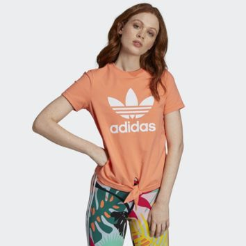 """""""Adidas"""" Women Simple Casual Clover Letter Print Round Neck Short Sleeve Cotton T-shirt"""