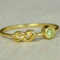 Gold Filled Peridot Infinity Ring