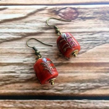 Lampwork Earrings, Dangle Earrings,  Claret Earrings, Glass Lampwork Earrings, Gift For Her, Birthday Gift, Handmade Earrings, Glass Bead