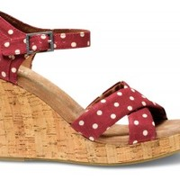 Red Polka Dot Linen Women's Strappy Wedges