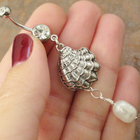 Shell and Pearl Belly Button Ring Jewelry