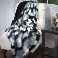 Ben and Jonah Long Haired Striped Faux Fur Throw Blanket (Black)