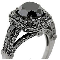 2.10 ct Black Round cut solitaire sterling silver wedding ring with free ship