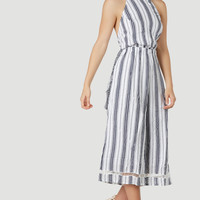 Stripe Up Cropped Jumpsuit