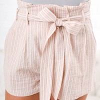 Picture Perfect Striped Shorts (Ivory/Pink)