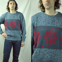Vintage 80s Native Snowflake Flocked Grey and Red Sweater