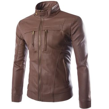 Men's PU Jackets Coats Motorcycle Leather Jacket Men Autumn Spring Faux Leather Clothing Male Casual Coats Clothes Plus Size 4XL