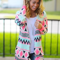 Mint and Neon Pink Open Cardigan