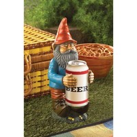 Beer Can Holder Garden Gnome Statue