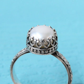 Pearl ring, sterling silver vintage antique style, floral band, 8mm crown setting, June birthstone, handmade wedding engagement promise ring