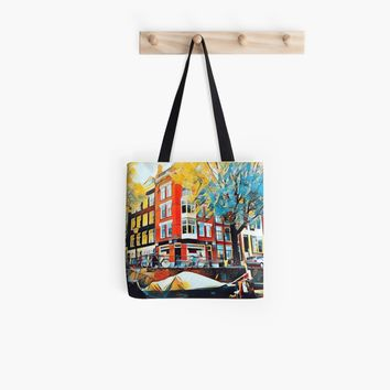 'Amsterdam city houses on the Amstel canal' Tote Bag by Sarah Davies