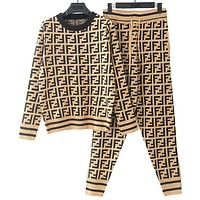 FENDI Autumn Winter Trending Women Stylish Knit Long Sleeve Pants Sweatpants Sportswear Two Piece Set Khaki