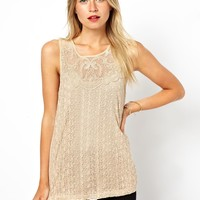 Oasis Embroidered Mesh Shell Top