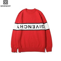 Givenchy 2019 new jacquard letters upside down logo round neck long sleeve sweater Red
