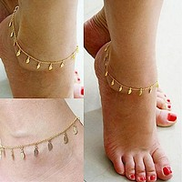 Fashion Gold Chain Anklet Leaf Type Bracelet Foot Ankle Women Lady Jewelry Elegant (Size: 25 cm, Color: Golden) (With Thanksgiving&Christmas Gift Box)