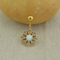 opal belly button rings,sun belly ring,opal belly button jewelry,bff gift