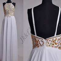 Stunning Gold Beaded Sequined Prom Dresses,Sexy White Backless Prom Dresses,Long A Line Chiffon Homecoming Dresses,Bridesmaid Dresses
