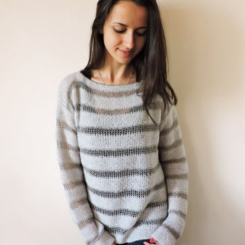 FREE SHIPPING Loose cozy sweater Knit mohair sweater Mohair blouse Soft Striped blouse Gray mohair Gray blouse Long sleeve blouse
