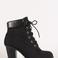 Lace Up Chunky Heel Ankle Work Bootie