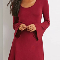 Wine Red Flare Sleeve A-line Dress